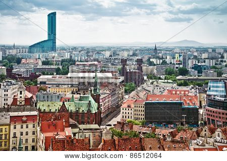 Air View Panorama Of Wroclaw