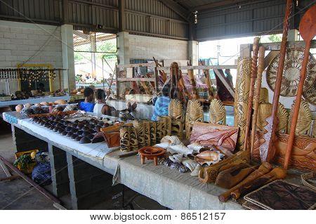 Souvenir Store At Town Market South Pacific, Tonga