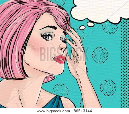 Pop Art illustration of surprised woman with the speech bubble.Pop Art girl. Comic book illustration