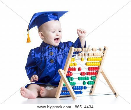 Kid with counter toy. Concept of early learning child