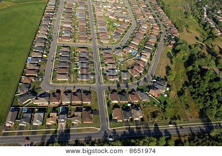 Aerial View Of North American Suburban Neighbourhoods