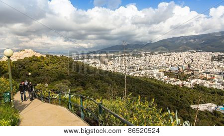 ATHENS, GREECE - MAR 28, 2015: Panorama of Athens from Lycabettus. Lycabettus also known as Lycabettos, Lykabettos or Lykavittos - a mountain in central Athens, height of 277 meters above sea level.