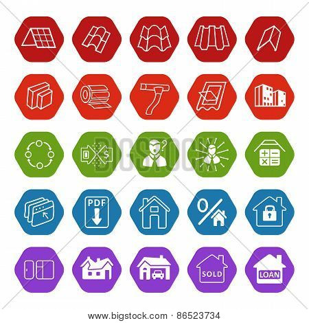 Sale Buildings Materials (roof, Facade) Site Icons Set