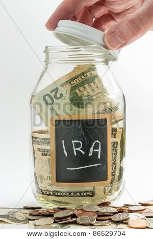 Hand Opening Glass Jar Used For Ira Fund