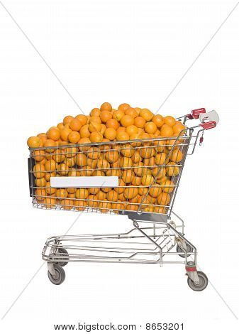 Shopping cart filled with oranges