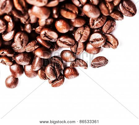 Roasted Coffee Beans Background Texture Isolated On White Background With Copy Space For Text, Macro