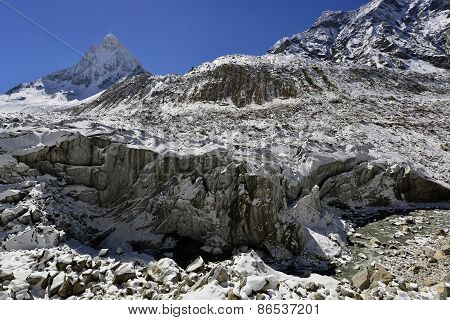 Gomukh Gaumukh origin of the Ganges river is Gangotri glacier snout with mount Shivling view, Garhwa
