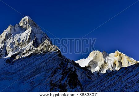 mount Shivling and Meru at sunrise in Garhwal Himalaya mountain range, Uttarakhand Uttaranchal, Indi