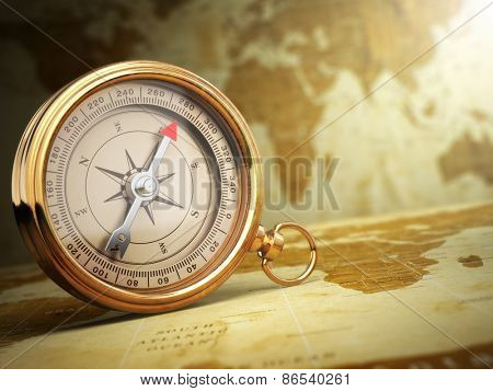 Vintage compass on the old world map. Travel concept. 3d