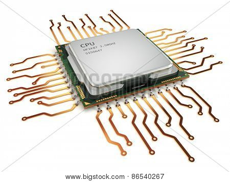CPU central processor unit isolated on white. 3d poster
