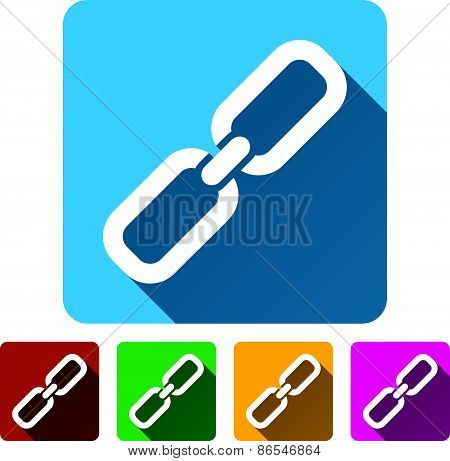 Chain Link Symbol Icons With Diagonal Shadows