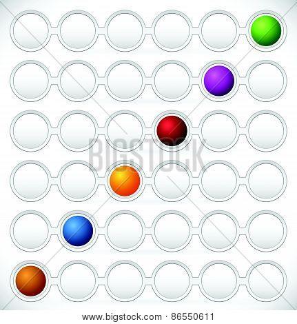 Circular Process Flow Chart Element. Color Coded Steps, Phase, Progress Indicators. Dark Version.