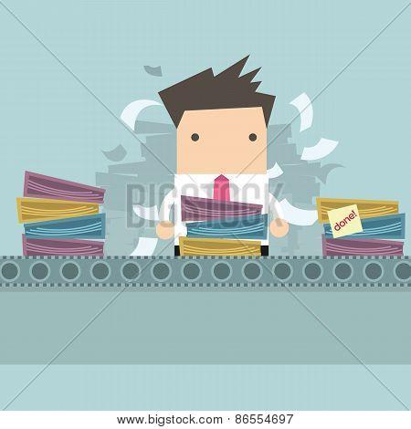 Businessman working Like factory work