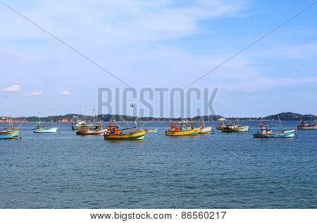 District Weligama, Sri Lanka, December 07, 2014. Fishing boats in the area 07 December 2014 in Weligama, Sri Lanka