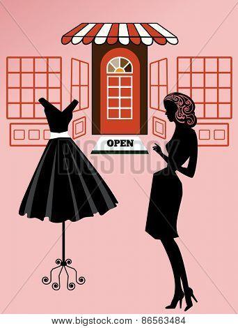 Woman shopping retro revival