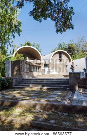 Ahmedabad, India - December 26, 2014: Tourist Visit Sungath Architectural Office In Ahmedabad, India