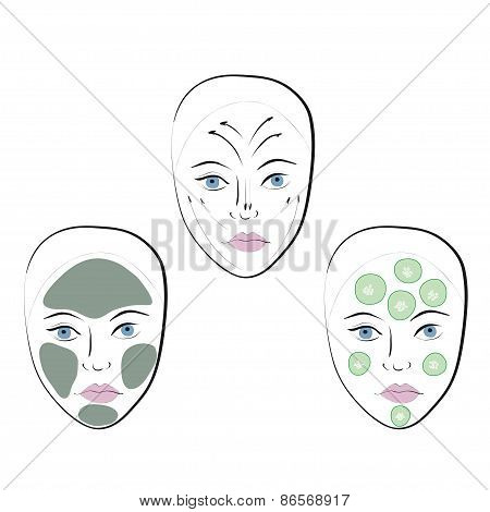 Stock vector set of faces.