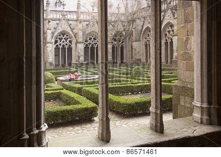 Children Near Fountain In Cathedral Garden Next To Dom Church In Utrecht