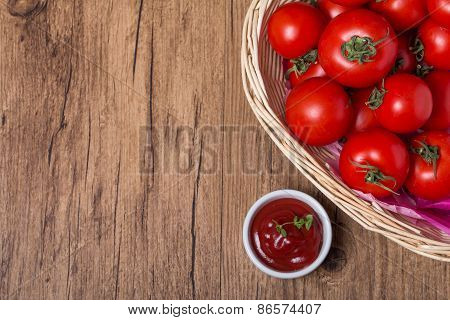 Bowl Of Tomato Sauce Ketchup And Tomatoes