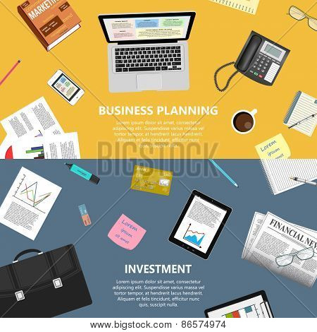 Modern flat design business planning and investment concept  for e-business, web sites, mobile applications, banners, corporate brochures, book covers, layouts etc. Vector eps10 illustration