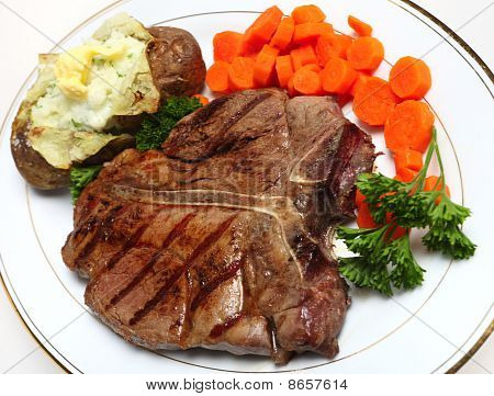 T-bone Steak Horizontal From Above