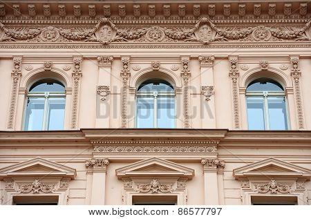 Facade Detail Of Historic House On Havlickova Street In Prague.