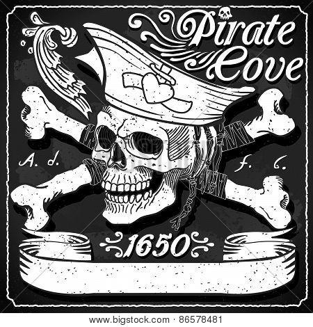 Black Pirate Cove Flag - Jolly Roger