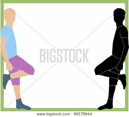 silhouette of boys leaning on the frame