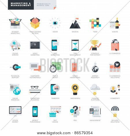 Set of modern flat design marketing and management icons for graphic and web designers