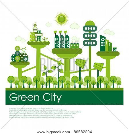 Futuristic green eco city living concept.