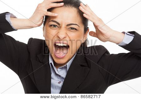 Portrait of a woman going mad