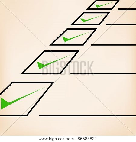 Business goals checklist with green markers, lines and unchecked checkbox. Vector icon. Idea - Busin