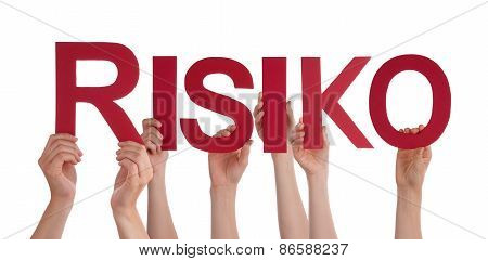 Many People Hands Holding Red Straight Word Risk