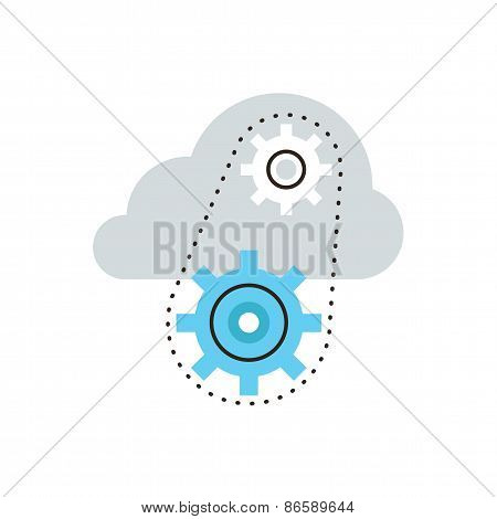 Cloud Computing Flat Line Icon Concept