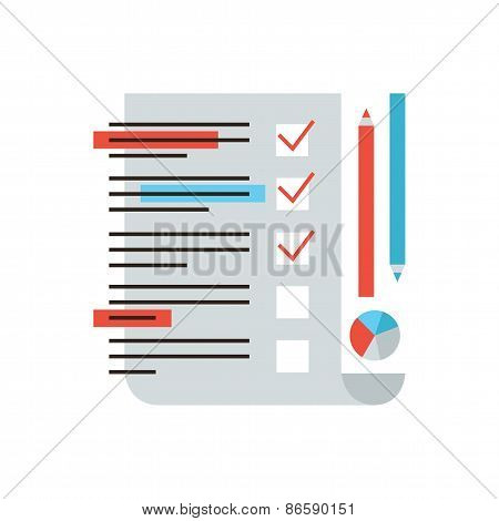 Thin line icon with flat design element of marketing research customer service feedback statistics form for checking checklist analysis survey market. Modern style logo vector illustration concept. poster
