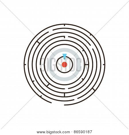 Thin line icon with flat design element of achieving goal circular labyrinth complex challenge exit from maze problem solving business puzzle. Modern style logo vector illustration concept. poster