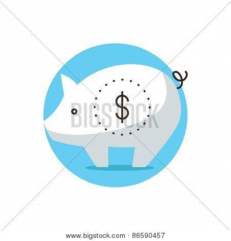 Piggybank Flat Line Icon Concept