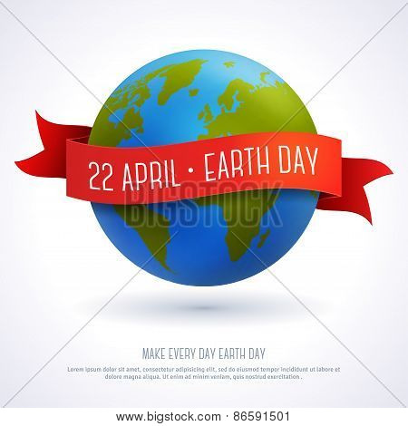 Vector illustration of earth globe with red ribbon