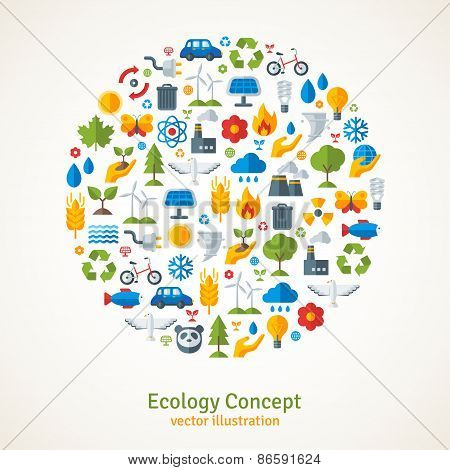 Ecology flat icons arranged in circle. Vector illustration.