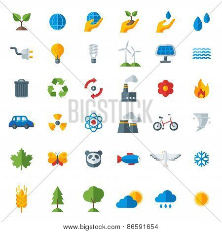 Ecology flat icons set isolated on white