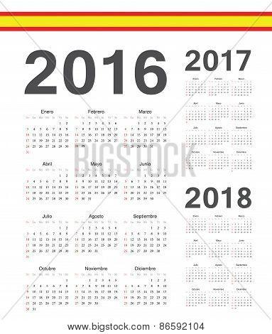 Set Of Spanish 2016, 2017,2018  Year Vector Calendars
