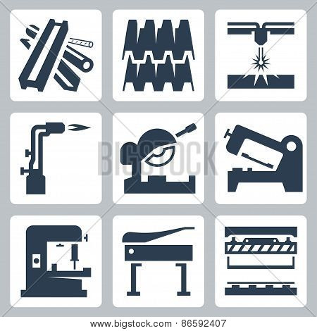 Metal Cutting And Metal Products Icon Set