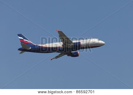 BUDAPEST, HUNGARY - APRIL 7: Aeroflot A320 taking off at Budapest Liszt Ferenc Airport, April 7th 2014. Aeroflot is Russia's flag carrier and largest airline.