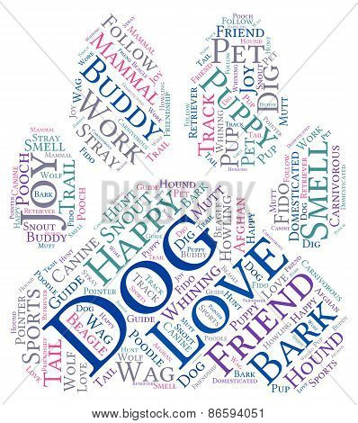 Paw Shaped Dog Word Cloud