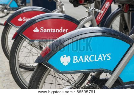 LONDON, UK - MARCH 28: Detail of Boris bikes in line. March 28, 2015 in London. On 27 February 2015. Mayor Boris Johnson secured Santander's sponsorship on the bike's scheme to replace Barclays bank..