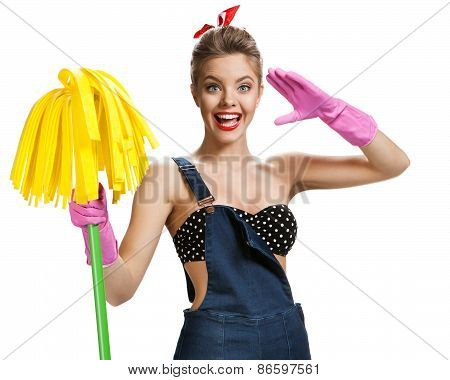Beautiful Pin-up Girl Wearing Pink Rubber Protective Gloves Holding Cleaning Mop