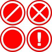 Eps 10 Vector Illustration of Set of Different Prohibition / Warning Signs road signs. European no parking no entry signs and sign with exclamation point poster