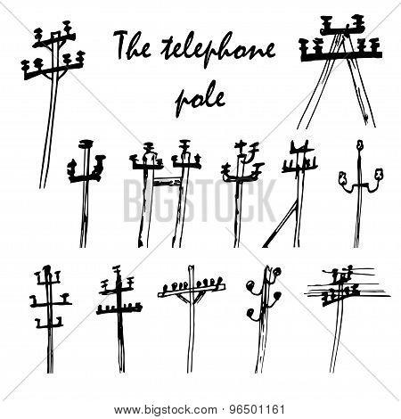 Vector Set Of Telefone Poles