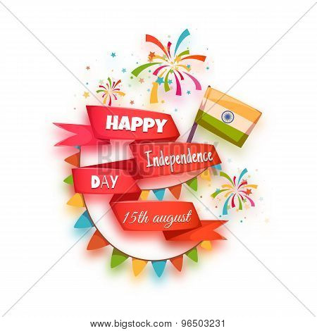 Happy independence day banner. India. Red ribbon with title. Vector illustration