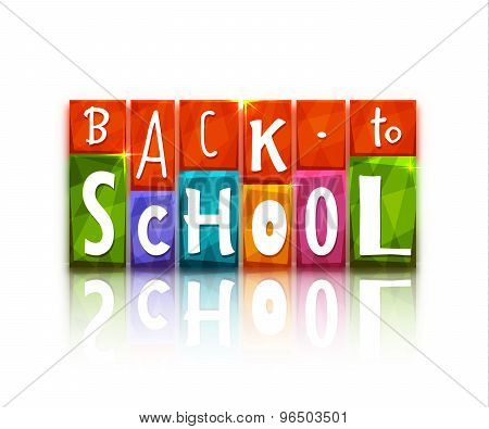 Color blocks with back to school text. Vector illustration